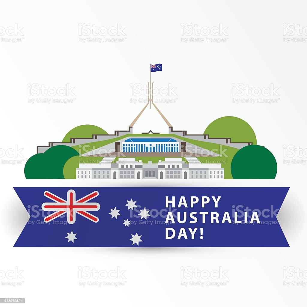 Happy Australia day, 26 january vector art illustration