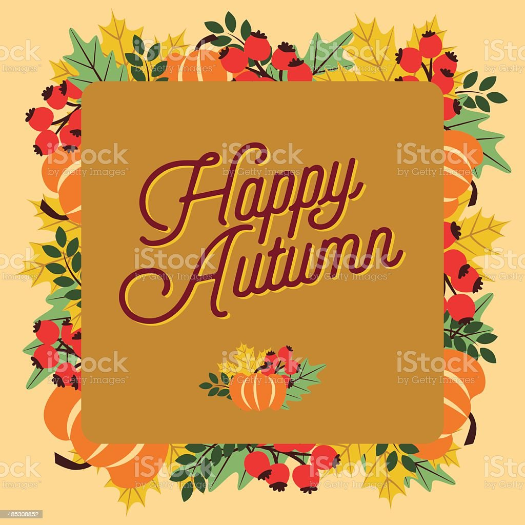Happy Autumn greeting card with a beige background. vector art illustration