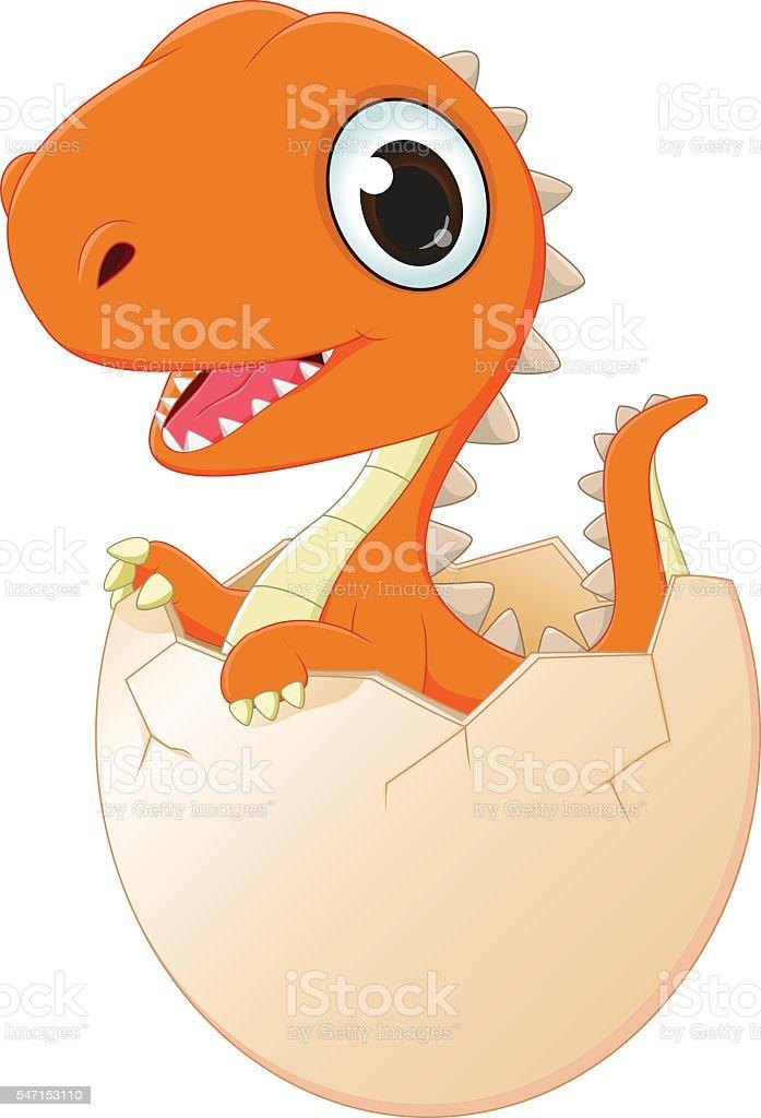 happy baby dinosaur hatching vector art illustration