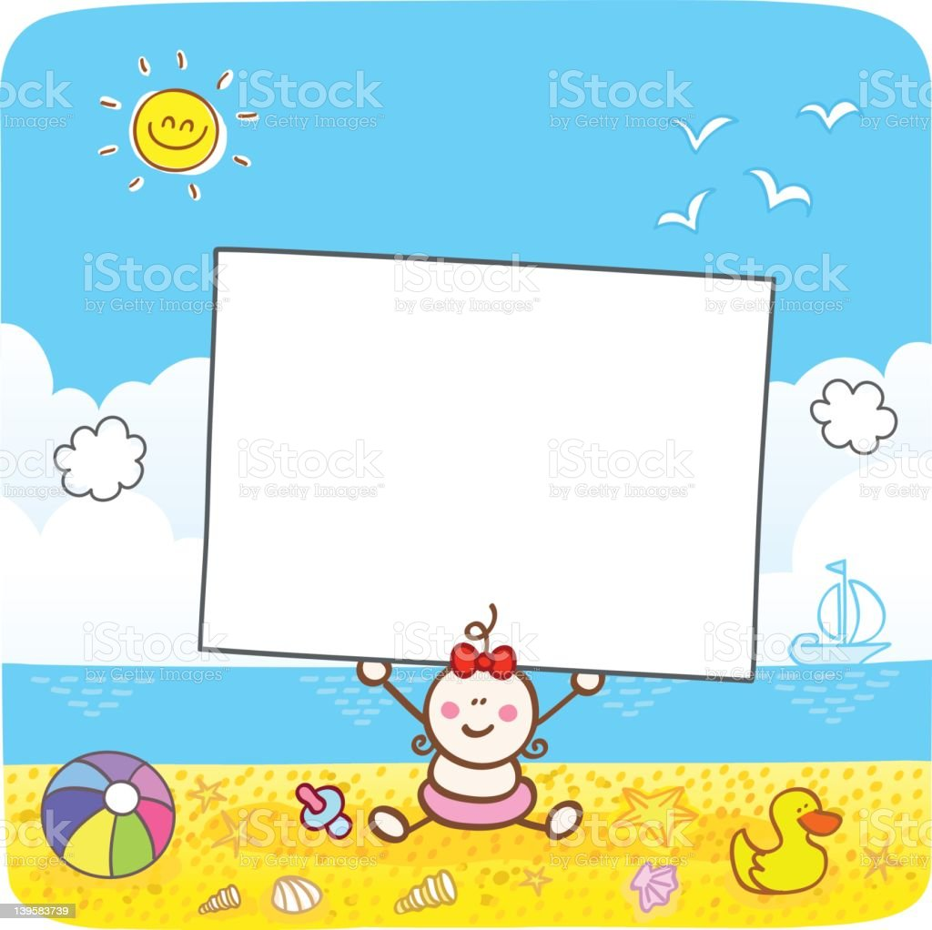 happy baby girl holding blank banner at sunny summer beach vector art illustration