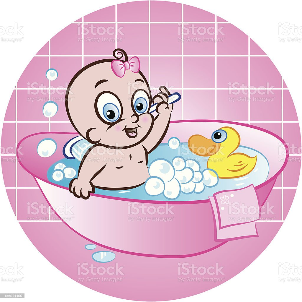 happy baby girl in tub royalty-free stock vector art