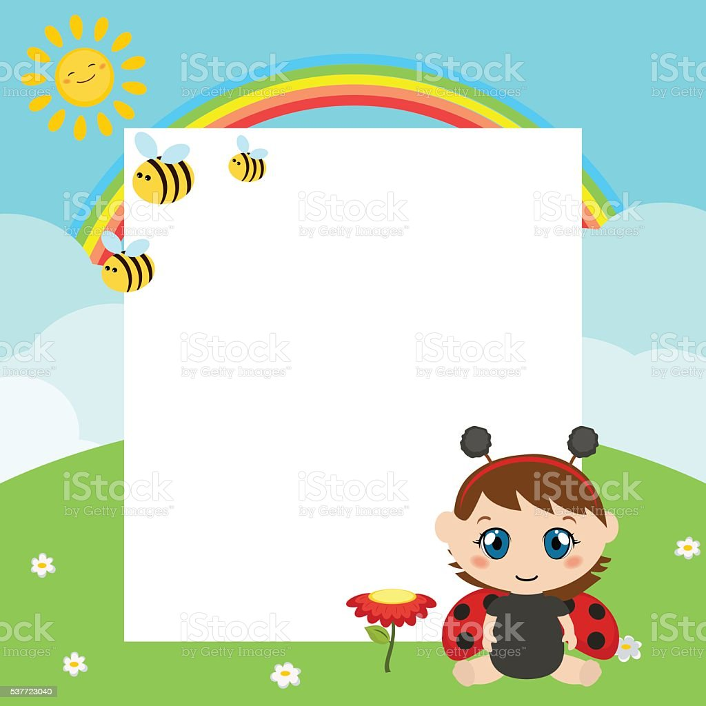 Happy baby with large sheet of paper vector art illustration