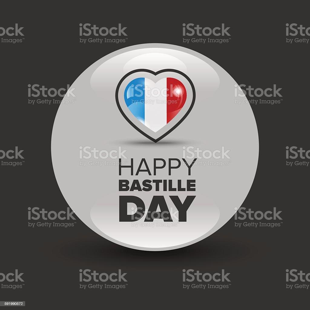 Happy Bastille day badge vector art illustration