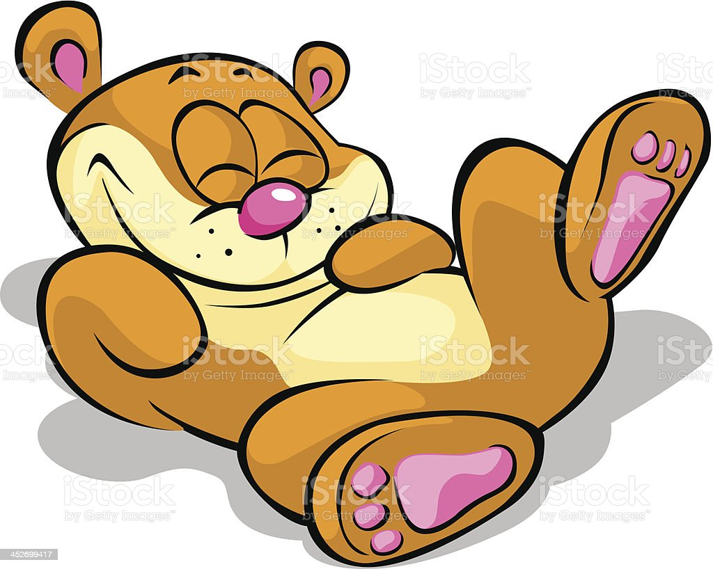 happy bear lying on his back and resting vector art illustration