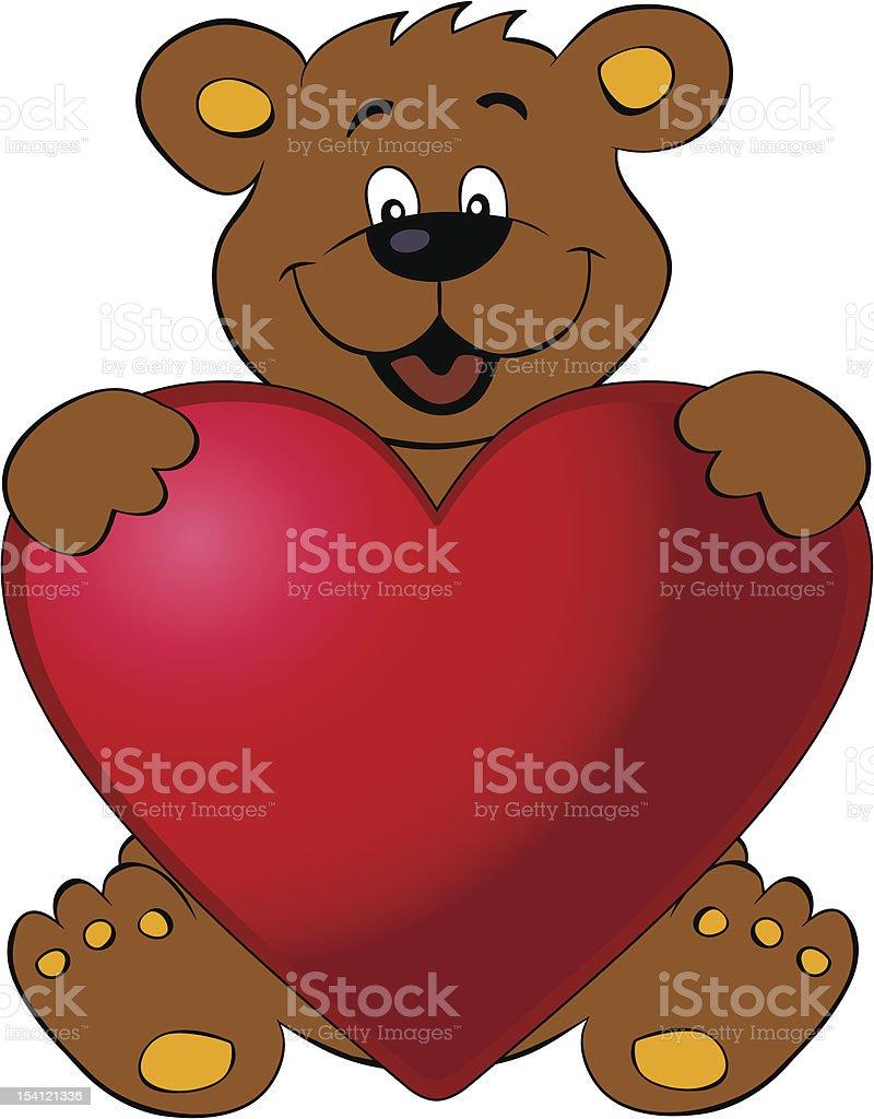 Happy bear with heart royalty-free stock vector art