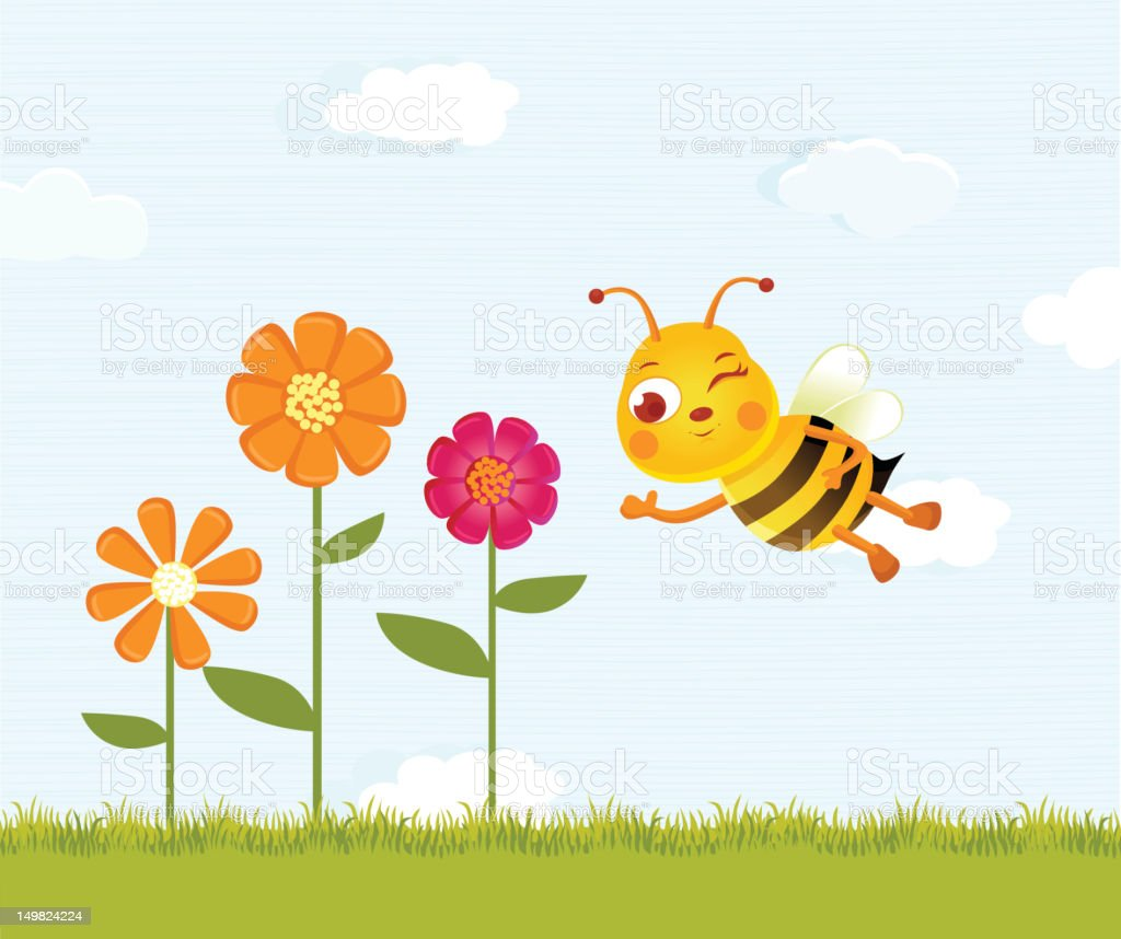 Happy Bee and Flowers royalty-free stock vector art
