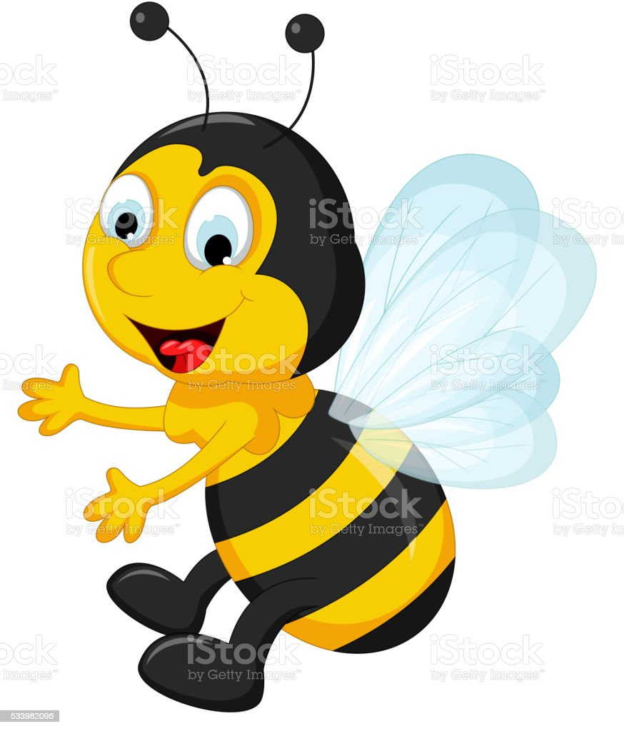 happy Bee cartoon flying vector art illustration