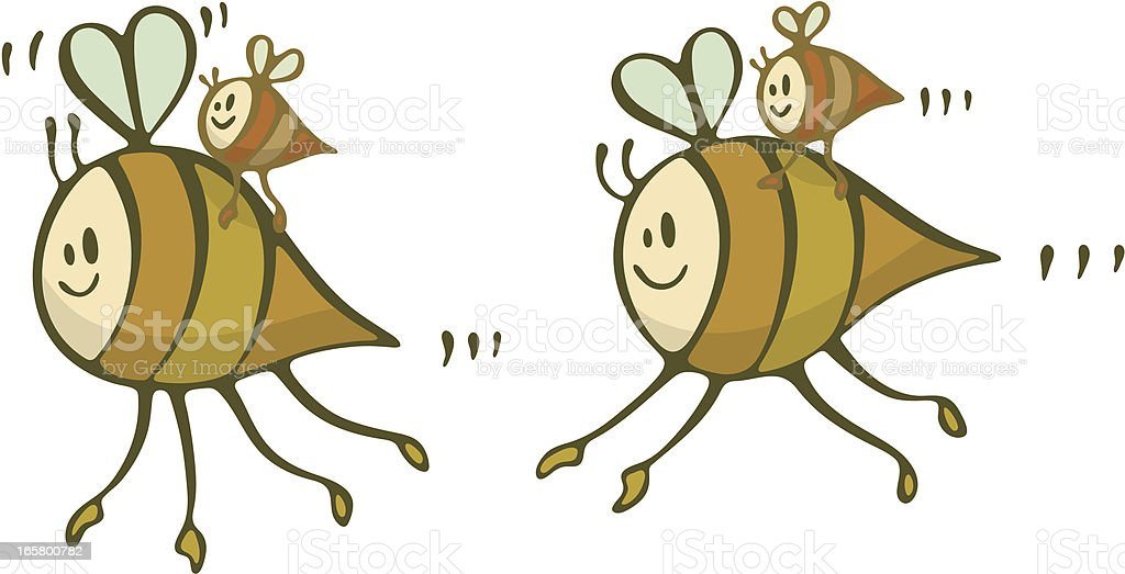 Happy Bee Family Flying Lessons Piggyback royalty-free stock vector art