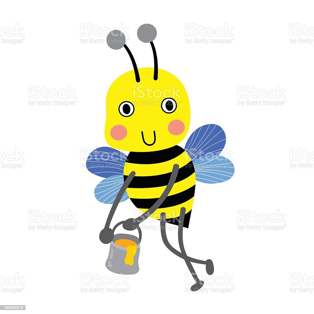 happy bee flying with honey jar cartoon character vector
