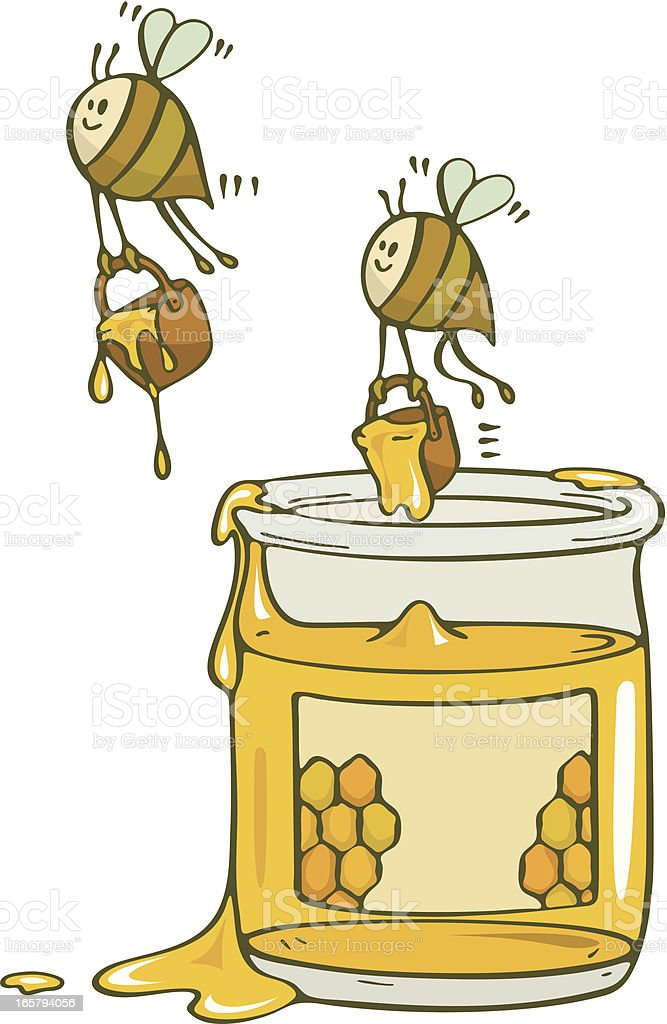 Happy Bees Stealing Honey From A Jar vector art illustration