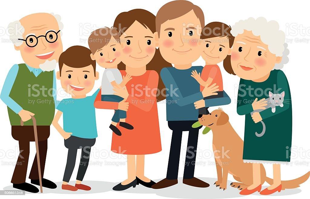 Happy big family portrait vector art illustration