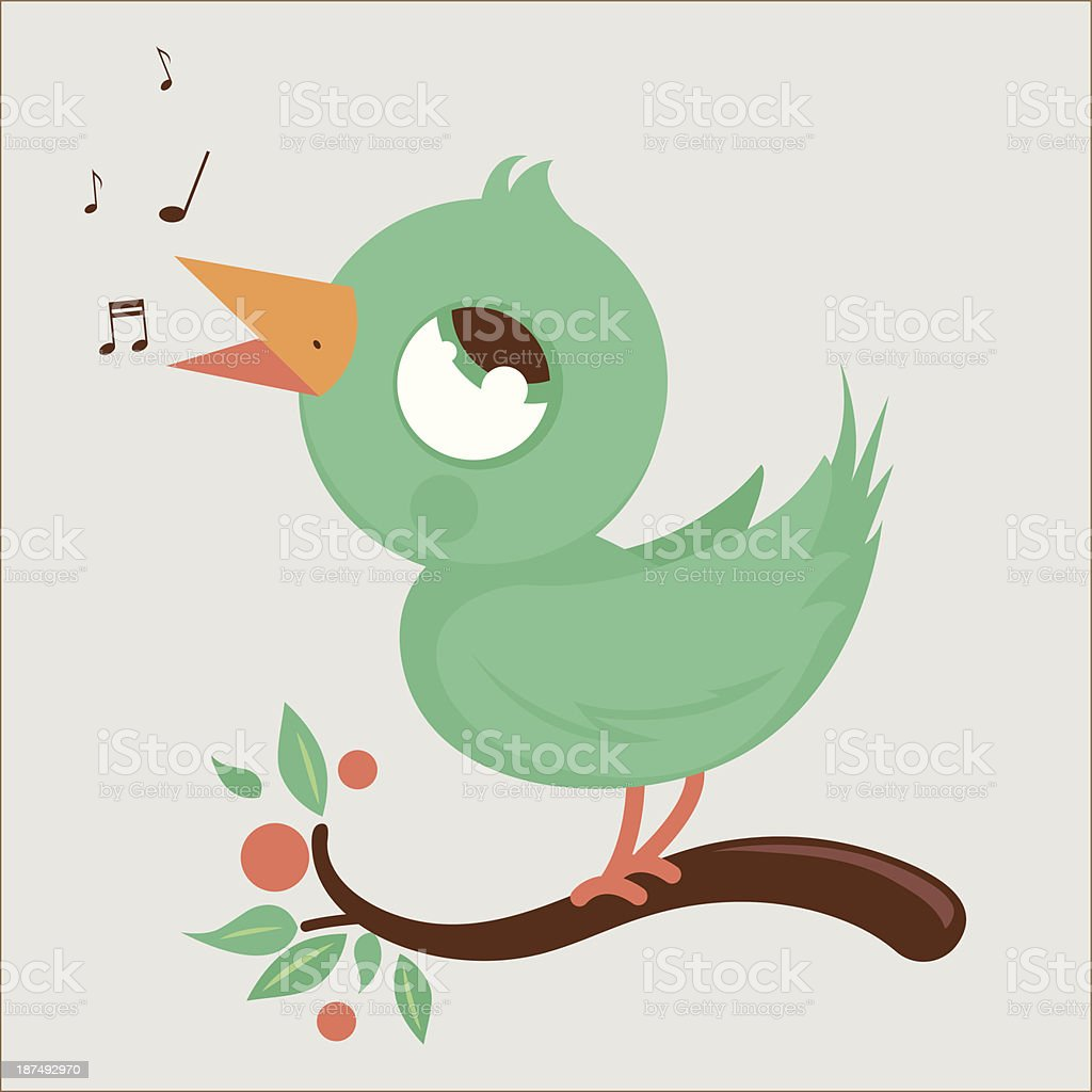 Happy bird on branch singing vector art illustration