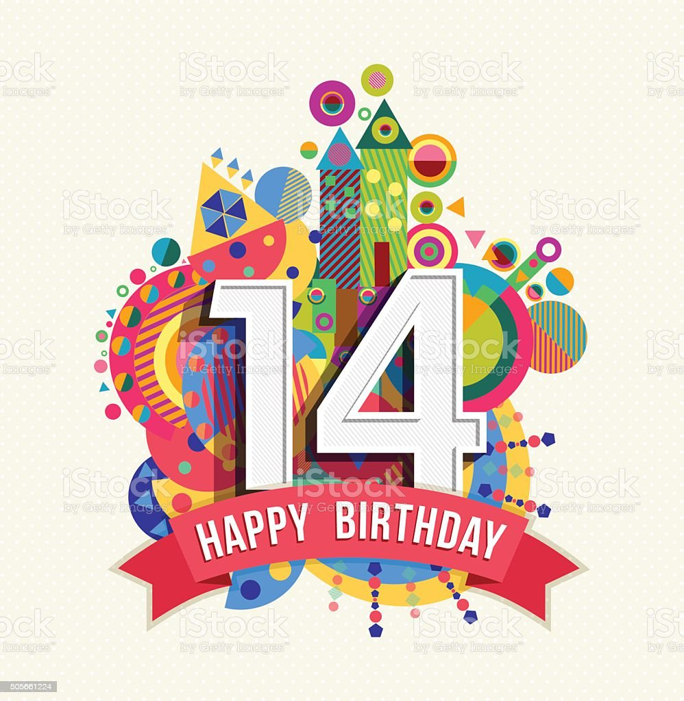 Happy birthday 14 year greeting card poster color vector art illustration