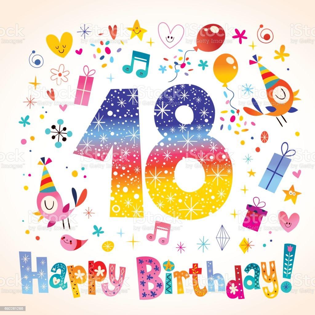 Happy Birthday 18 years teen greeting card vector art illustration