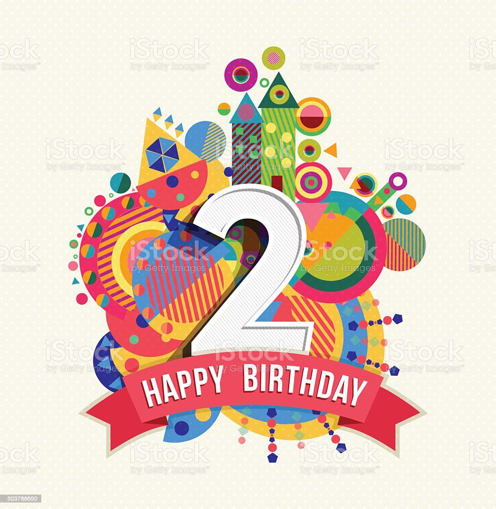 2 color poster design - Happy Birthday 2 Year Greeting Card Poster Color Royalty Free Stock Vector Art