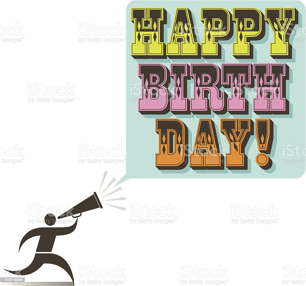 Happy birthday announcer vector art illustration