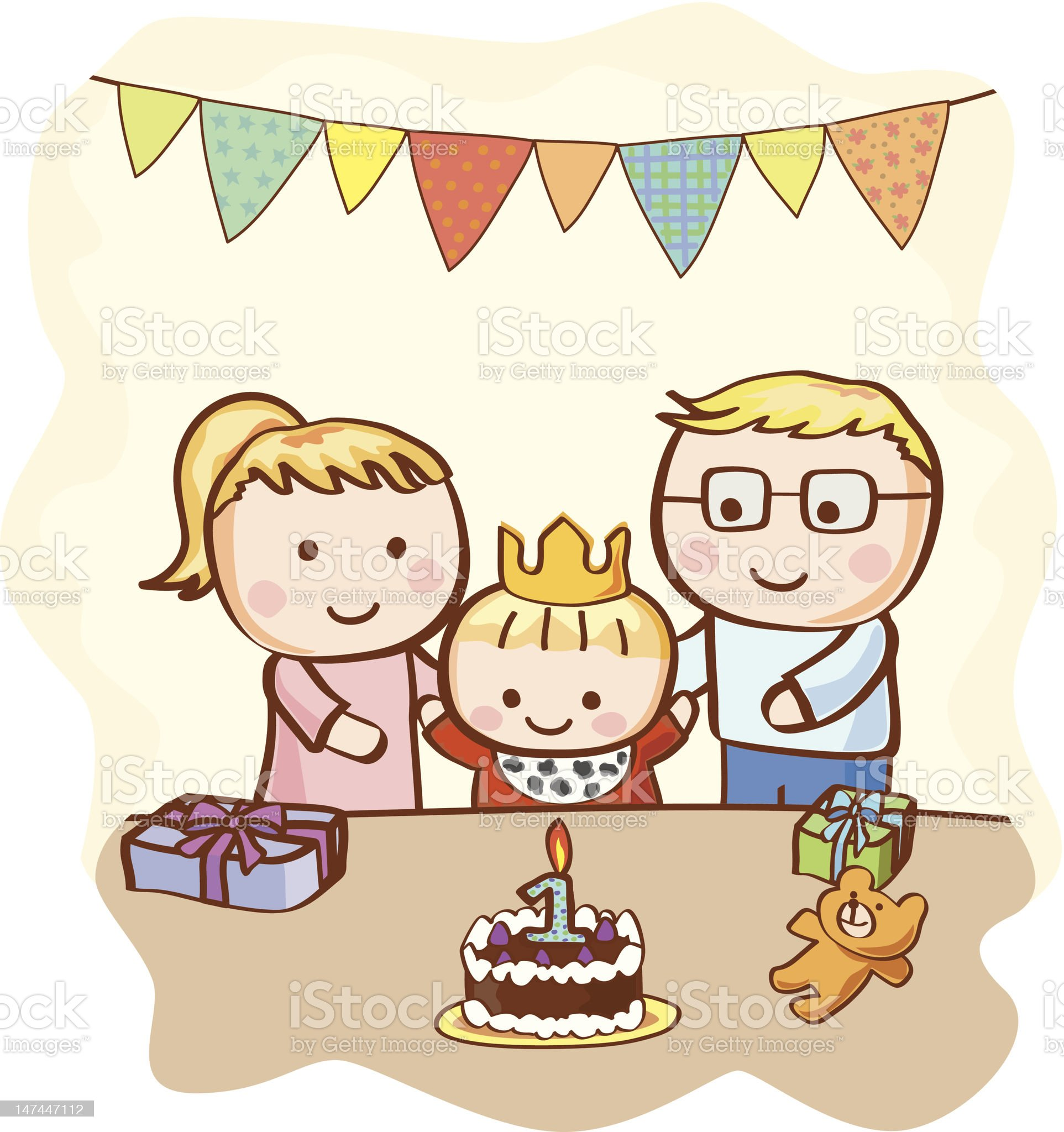 Happy Birthday Baby with Parents royalty-free stock vector art