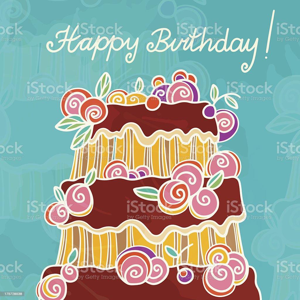Happy birthday background with cake vector art illustration