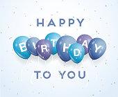 Happy birthday balloons and confetti