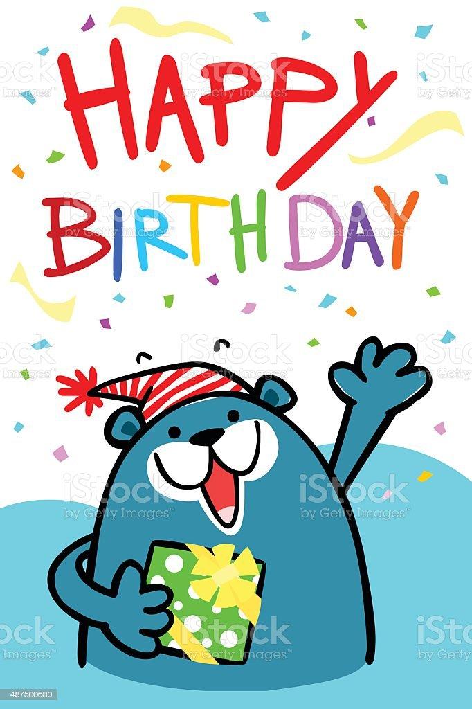 happy birthday bear card vector illustration vector art illustration