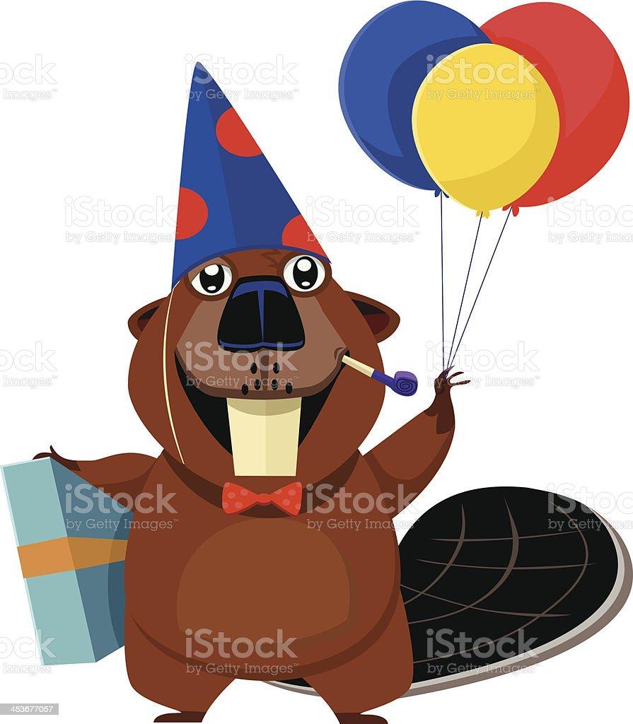 Happy Birthday Beaver royalty-free stock vector art