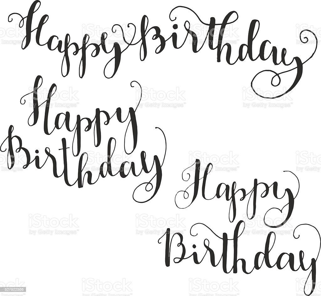 Happy birthday brush script style hand lettering stock - Style ecriture tatouage ...