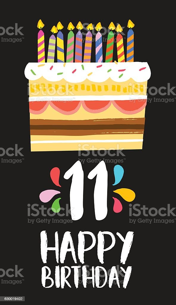 Happy Birthday cake card for 11 eleven year party vector art illustration