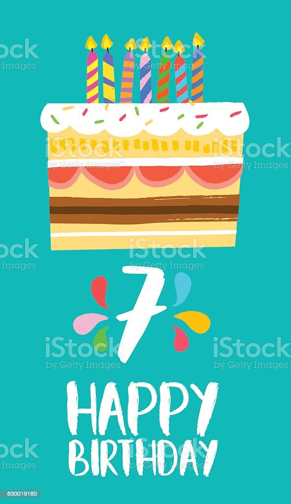 Happy Birthday cake card for 7 seven year party vector art illustration