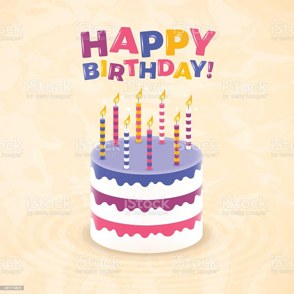 Happy Birthday Cake vector art illustration