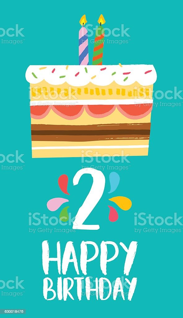 Happy Birthday card for 2 two year fun party cake vector art illustration