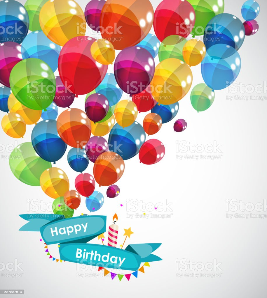 Happy Birthday Card Template With Balloons Vector Illustration – How to Sign a Birthday Card