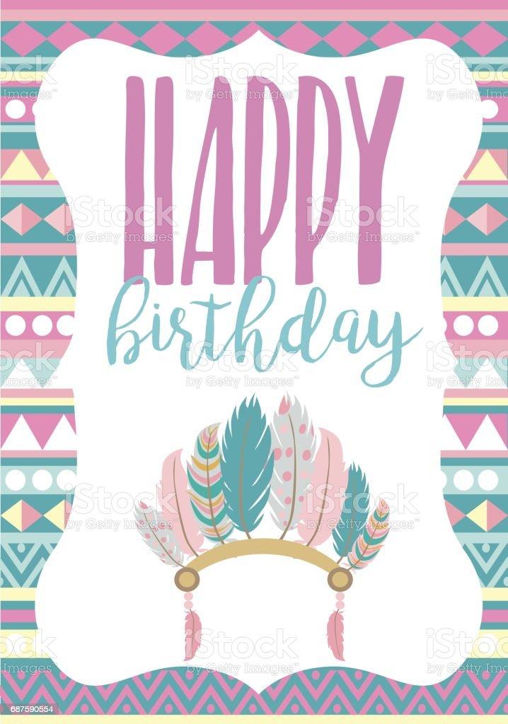 happy birthday card template with boho style stock vector art 687590554