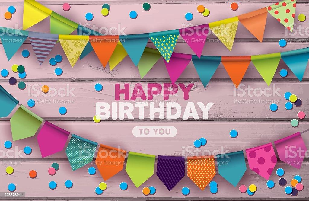 Happy Birthday card. vector art illustration