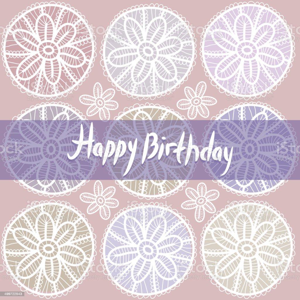 Happy Birthday Card. Vintage lace design. Pastel purple violet color. royalty-free stock vector art