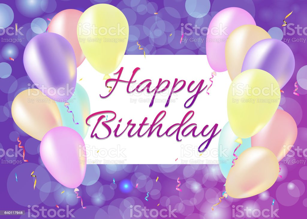 Happy Birthday card with balloons, streamers, purple background vector art illustration