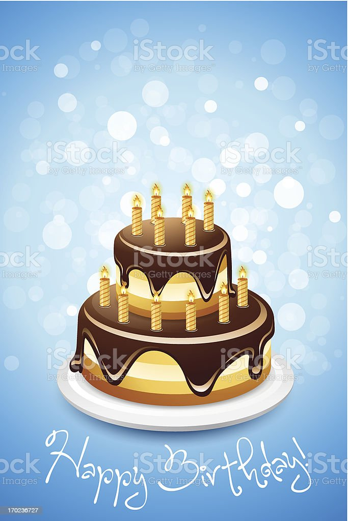 Happy Birthday Card with Cake royalty-free stock vector art