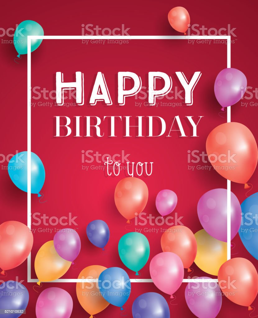 Happy birthday card with flying balloons and white frame. vector art illustration