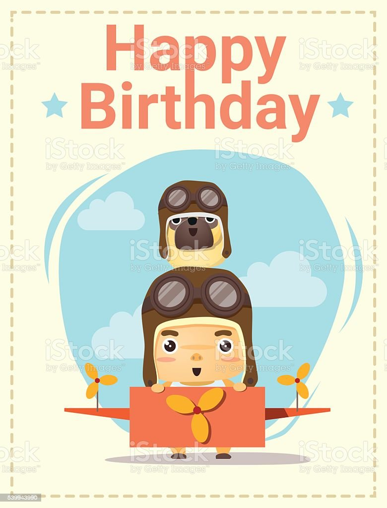 Happy Birthday Card With Little Boy And Friend stock vector art – How to Sign a Birthday Card