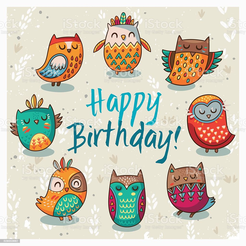 Happy Birthday Card With Owls Vector Illustration stock ...