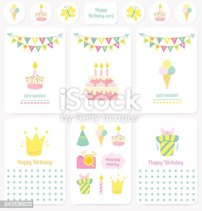 Happy Birthday Cards Notes Stickers Tags stock vector art – Birthday Cards Notes
