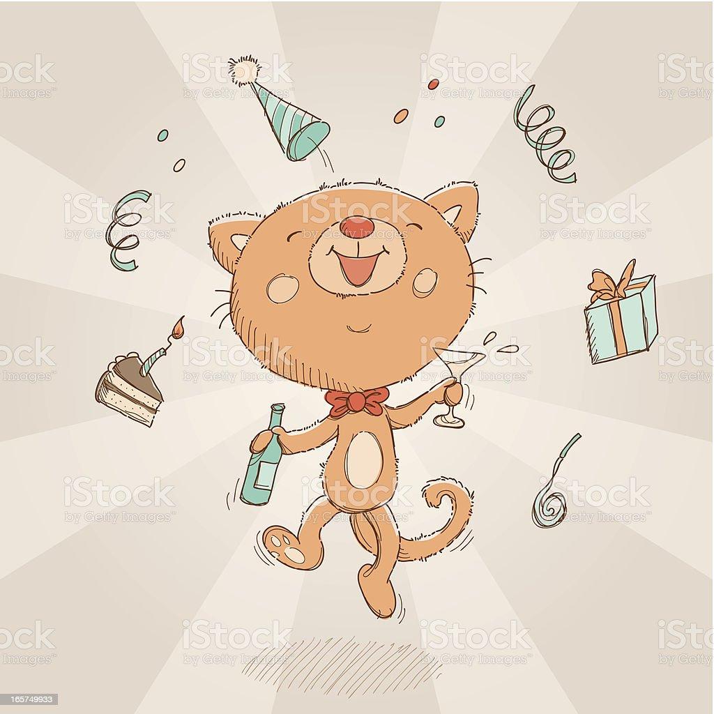 Happy Birthday cat card royalty-free stock vector art