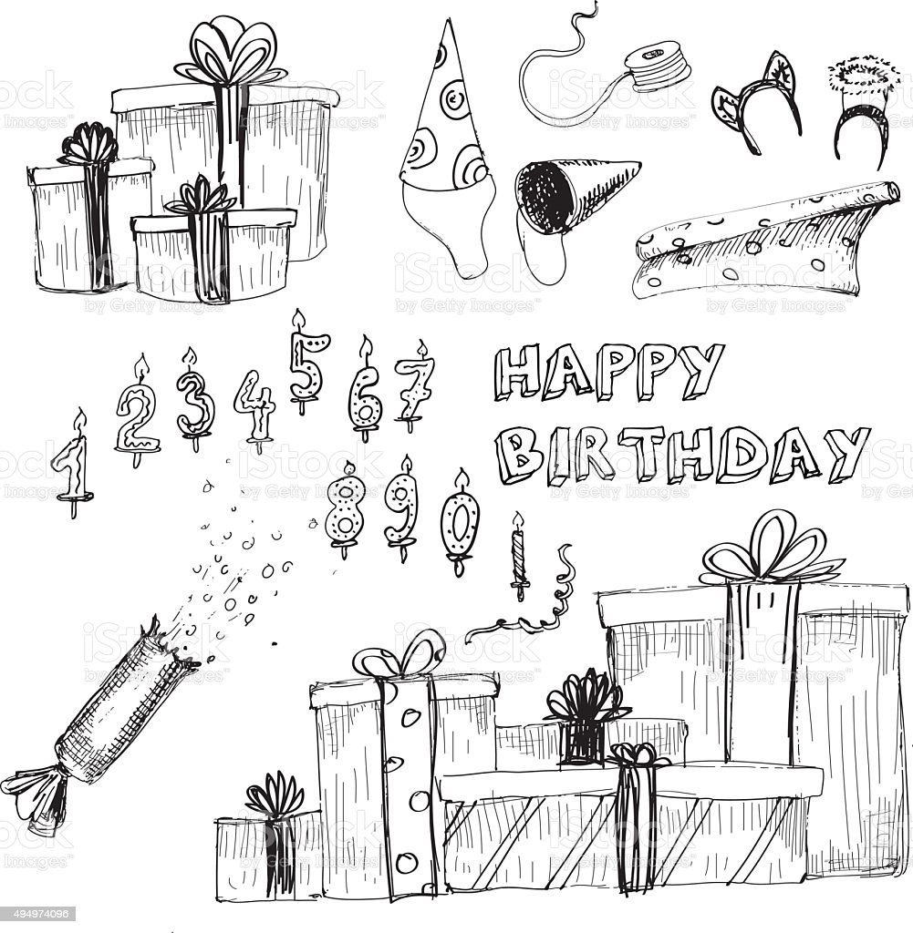Happy birthday collection vector art illustration