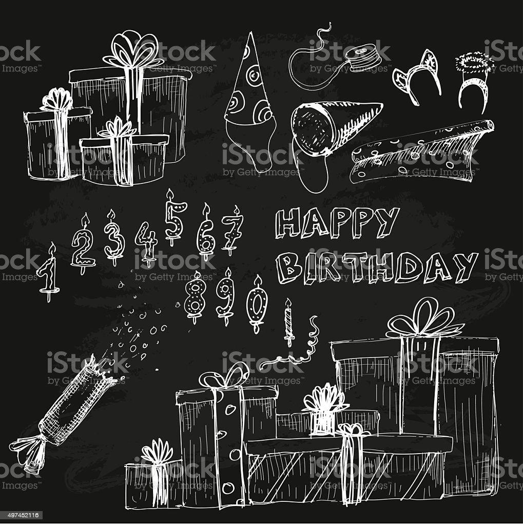 Happy birthday collection. vector art illustration