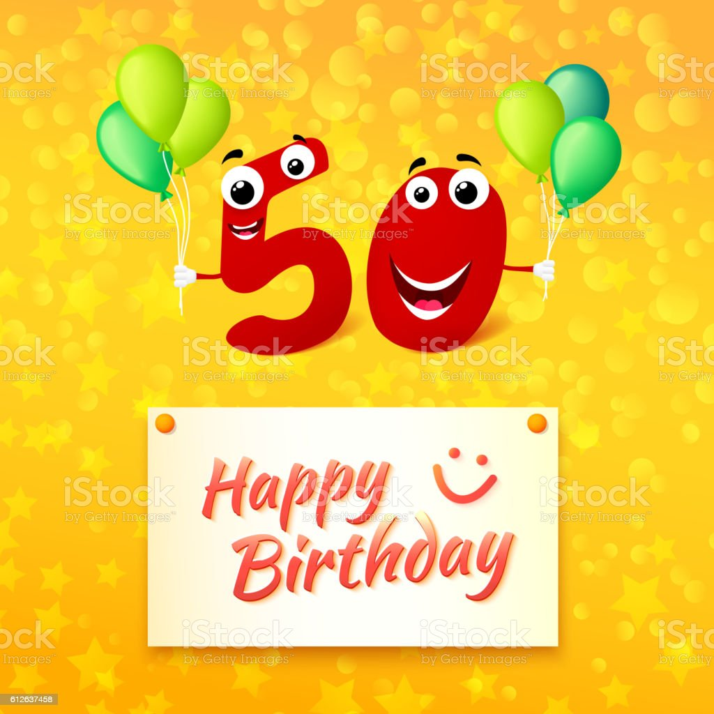 Happy Birthday colorful greeting card for 50 years vector art illustration