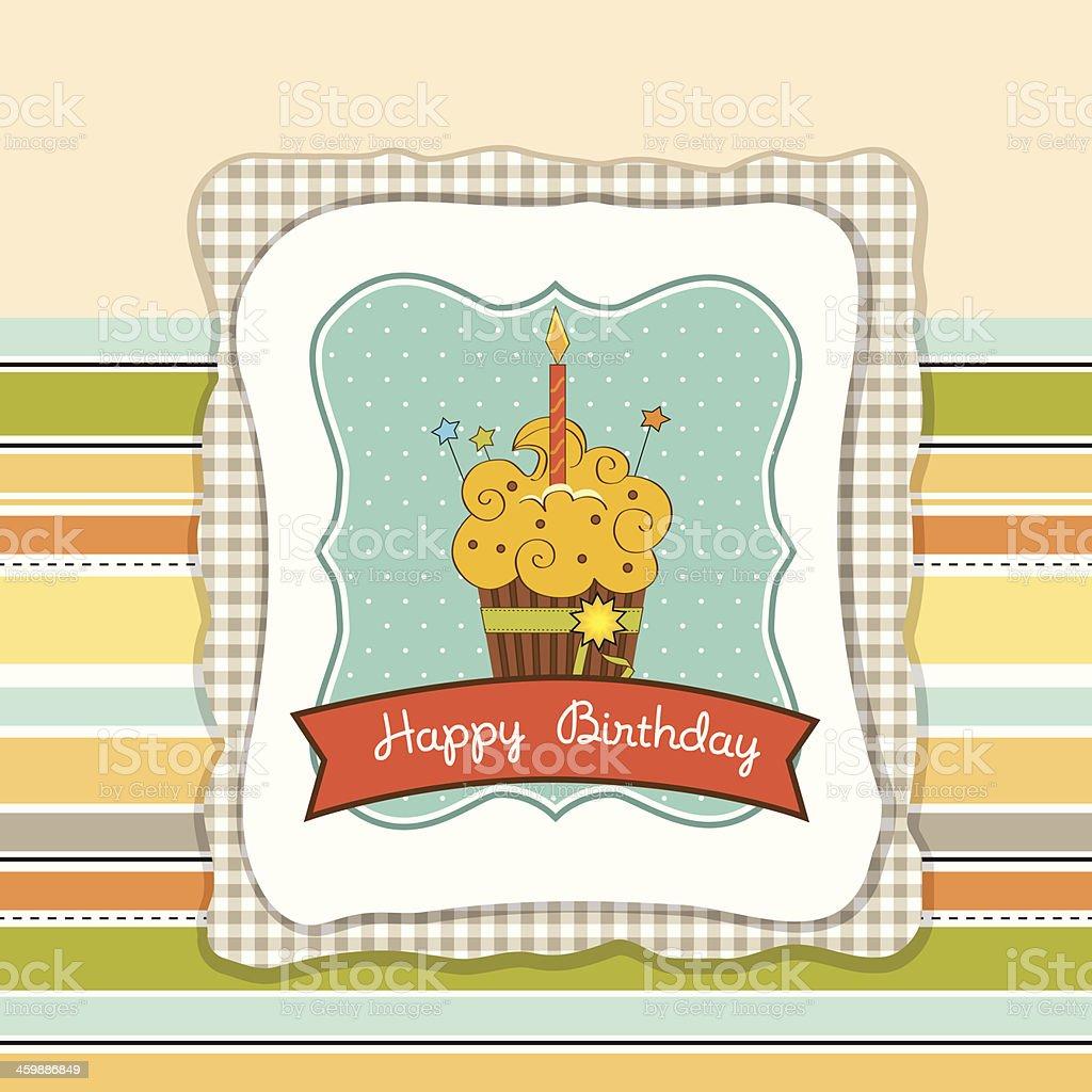 Happy Birthday cupcake vector art illustration