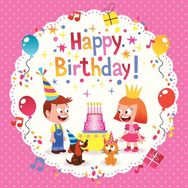 Puppy Birthday Cards Background Clip Art Vector Images