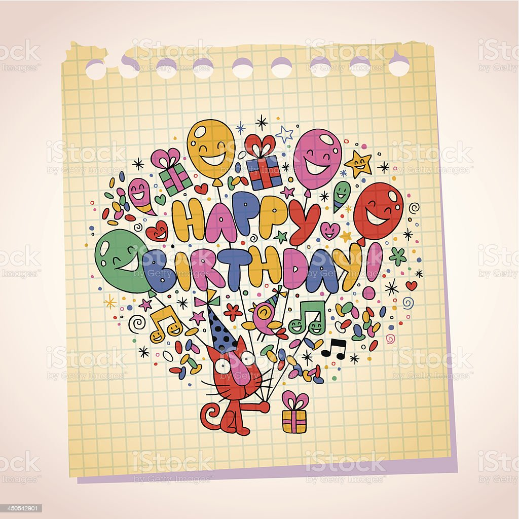Happy Birthday cute kitten note paper cartoon sketch royalty-free stock vector art