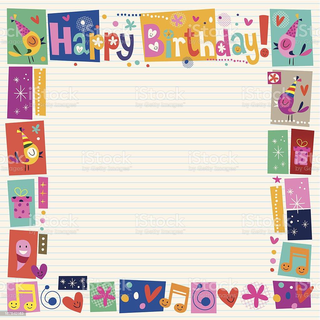 Happy Birthday decorative border vector art illustration