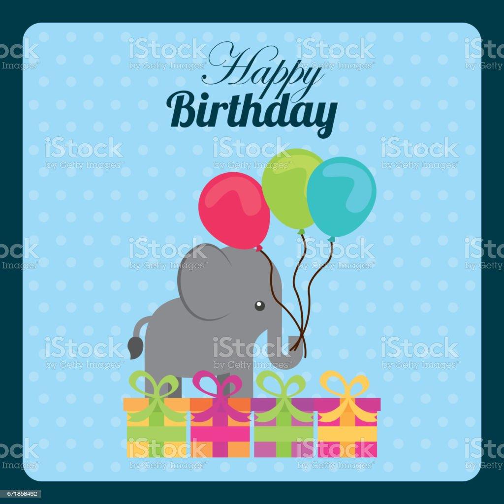 happy birthday design vector art illustration