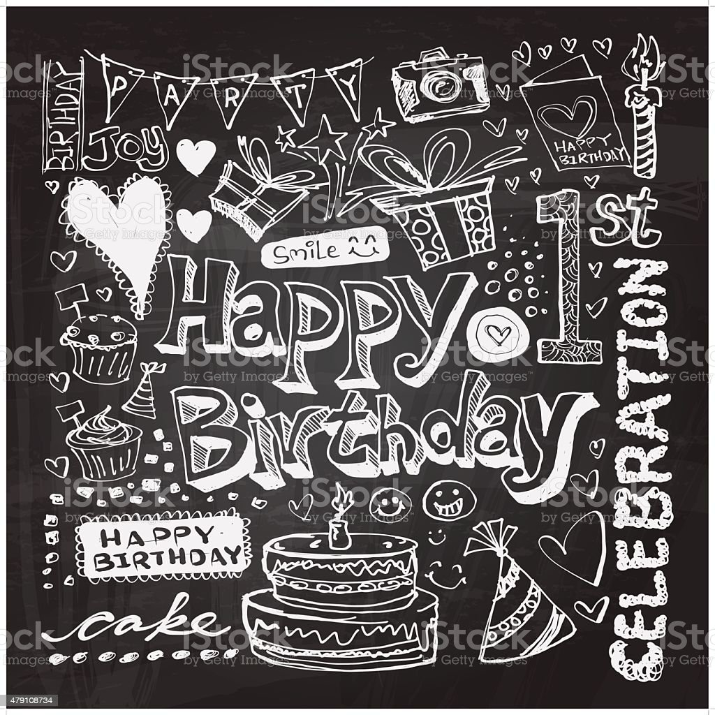 Happy Birthday doodle drawing vector art illustration
